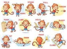 Grupo de crianças dos desenhos animados que guardam objetos diferentes ilustração stock