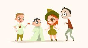 Grupo de crianças dos personagens de banda desenhada Jogo de Halloween Ilustração do vetor feriado ilustração royalty free
