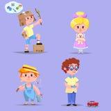 Grupo de crianças felizes bonitos dos desenhos animados ilustração royalty free