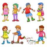 Grupo de crianças felizes dos desenhos animados Imagem de Stock