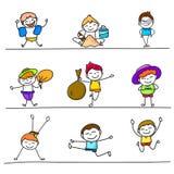 Grupo de crianças felizes dos desenhos animados coloridos do desenho da mão Imagem de Stock Royalty Free