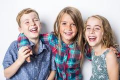 Grupo de crianças felizes no fundo do cinza do estúdio Fotografia de Stock Royalty Free