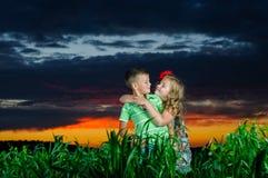 Grupo de crianças felizes que jogam no prado Fotos de Stock Royalty Free