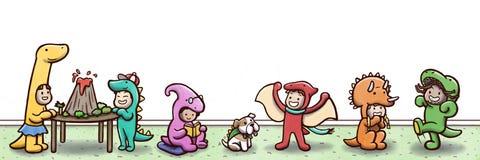 """Grupo de crianças fundo branco da parede em um †do partido do tema do dinossauro """" ilustração royalty free"""