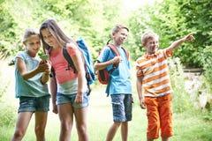 Grupo de crianças Geocaching nas madeiras foto de stock royalty free