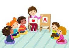 Grupo de crianças prées-escolar e de professor que sentam-se no assoalho professor ilustração royalty free