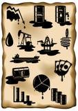 Grupo de crise petrolífera Queda de preços do óleo, derramamento do petróleo, plataforma petrolífera Imagens de Stock Royalty Free