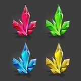 Grupo de cristais diferentes dos desenhos animados dos recursos do jogo ilustração stock