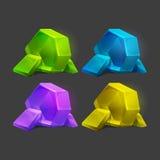 Grupo de cristais diferentes dos desenhos animados dos recursos do jogo ilustração royalty free