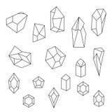 Grupo de cristais e de pedra preciosa ilustração do vetor