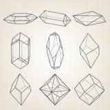 Grupo de cristais geométricos ilustração stock