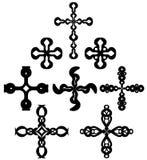Grupo de cruzes isoladas decoradas Fotos de Stock Royalty Free
