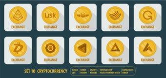 Grupo de cryptocurrency da troca dos ícones Imagem de Stock