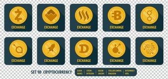 Grupo de cryptocurrency diferente da troca dos ícones Fotos de Stock Royalty Free