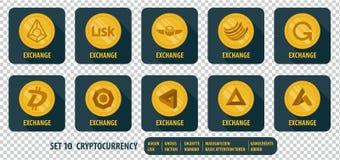 Grupo de cryptocurrency diferente da troca dos ícones Imagens de Stock