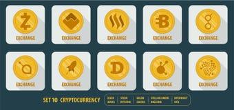 Grupo de cryptocurrency diferente dos ícones Imagem de Stock
