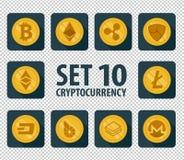 Grupo de cryptocurrency liso da moeda 10 ilustração stock