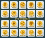 Grupo de cryptocurrency liso da moeda 10 em um fundo branco ilustração royalty free
