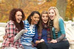 Grupo de cuatro adolescentes que se sientan en banco Fotos de archivo libres de regalías