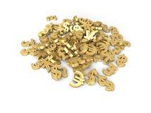 Grupo de cuatro diversos símbolos de dinero en circulación Imagen de archivo