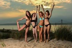 Grupo de cuatro modelos que llevan los bikinis que presentan en la playa de la puesta del sol imágenes de archivo libres de regalías