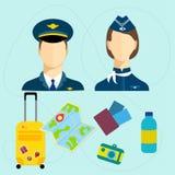 Grupo de curso com soutcases e piloto e stuart ilustração royalty free