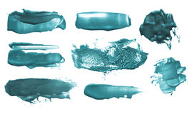Grupo de cursos acrílicos da escova da cor abstrata fotografia de stock