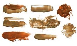 Grupo de cursos acrílicos da escova da cor abstrata fotografia de stock royalty free