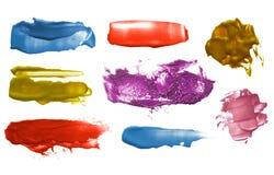Grupo de cursos acrílicos da escova da cor abstrata imagem de stock