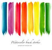 Grupo de cursos coloridos da escova da aquarela Imagem de Stock