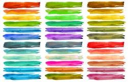 Grupo de cursos coloridos da escova da aquarela Foto de Stock