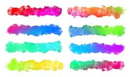 Grupo de cursos coloridos da escova da aquarela para o texto Fotos de Stock