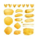 Grupo de cursos e de corações de brilho da escova do ouro para você projeto de design surpreendente Foto de Stock Royalty Free