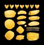 Grupo de cursos e de corações de brilho da escova do ouro para você projeto de design surpreendente Fotos de Stock