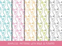 Grupo de curvas e de testes padrões de flores sem emenda Foto de Stock Royalty Free