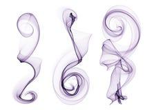 Grupo de curvas roxas da onda do fumo isoladas no sumário branco Fotos de Stock Royalty Free