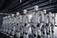 Grupo de cyborgs en fábrica fotos de archivo