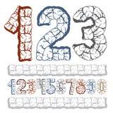 Grupo de dígitos à moda do vetor, coleção moderna dos numerais N corajoso ilustração stock