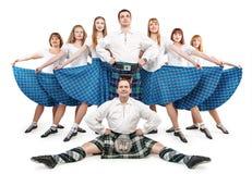 Grupo de dançarinos da dança do Scottish Imagens de Stock Royalty Free