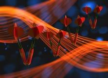 Grupo de dardos vermelhos que voam no espaço através do fundo com luzes do bokeh e formas onduladas do fumo ilustração 3D Imagens de Stock