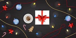 Grupo de decoração do Natal, vista superior do vetor Fotografia de Stock