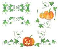 Grupo de decorações com abóboras do Dia das Bruxas Teste padrão da aquarela Fotografia de Stock