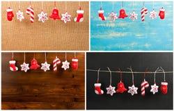 Grupo de decorações do Natal de suspensão e do ano novo no vagabundos de madeira Foto de Stock Royalty Free