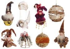 Grupo de decorações festivas do vintage do Natal isoladas no branco Imagens de Stock