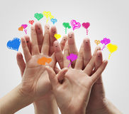 Grupo de dedo con las burbujas del discurso del corazón del amor Fotografía de archivo libre de regalías