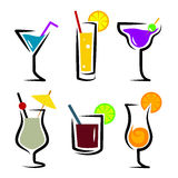 Grupo de delicado e de longo-bebidas dos cocktail Imagens de Stock Royalty Free