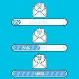 Grupo de descargadores do vetor com carga do personagem de banda desenhada e do texto do email Barra do progresso e emoticon da c Imagem de Stock