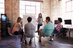 Grupo de desenhistas que têm a sessão da sessão de reflexão no escritório Foto de Stock Royalty Free