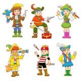 Grupo de desenhos animados da criança do pirata Imagens de Stock