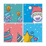 Grupo de desenhos animados do Natal ilustração royalty free